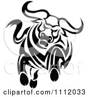 Clipart Black And White Charging Angry Bull Royalty Free Vector Illustration