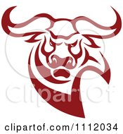 Clipart Red Aggressive Bull Royalty Free Vector Illustration