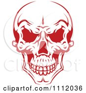 Clipart Evil Red And White Skull 2 Royalty Free Vector Illustration