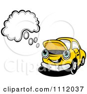 Clipart Broken Down Yellow Car With A Thought Balloon Royalty Free Vector Illustration by Vector Tradition SM