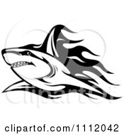 Clipart Black And White Tribal Shark And Flames 2 Royalty Free Vector Illustration