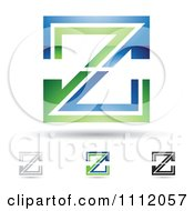 Clipart Abstract Letter Z Icons With Shadows 4 Royalty Free Vector Illustration by cidepix