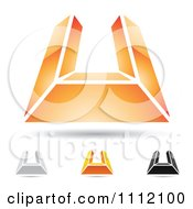 Clipart Abstract Letter U Icons With Shadows 6 Royalty Free Vector Illustration
