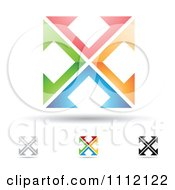Clipart Abstract Letter X Icons With Shadows 2 Royalty Free Vector Illustration by cidepix
