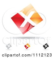 Clipart Abstract Letter X Icons With Shadows 9 Royalty Free Vector Illustration