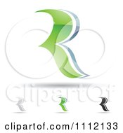Clipart Abstract Letter R Icons With Shadows 3 Royalty Free Vector Illustration
