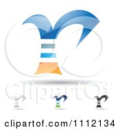 Clipart Abstract Letter R Icons With Shadows 1 Royalty Free Vector Illustration by cidepix