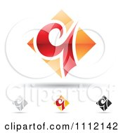 Clipart Abstract Letter Q Icons With Shadows 6 Royalty Free Vector Illustration by cidepix