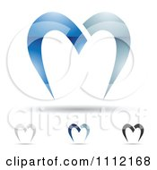 Clipart Abstract Letter M Icons With Shadows 9 Royalty Free Vector Illustration