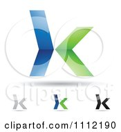 Clipart Abstract Letter K Icons With Shadows 4 Royalty Free Vector Illustration