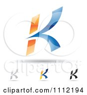 Clipart Abstract Letter K Icons With Shadows 7 Royalty Free Vector Illustration