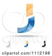 Clipart Abstract Letter J Icons With Shadows 3 Royalty Free Vector Illustration