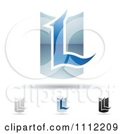 Clipart Abstract Letter L Icons With Shadows 5 Royalty Free Vector Illustration