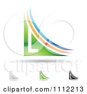 Clipart Abstract Letter L Icons With Shadows 1 Royalty Free Vector Illustration