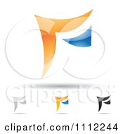 Clipart Abstract Letter F Icons With Shadows 7 Royalty Free Vector Illustration