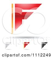 Clipart Abstract Letter F Icons With Shadows 2 Royalty Free Vector Illustration