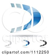 Clipart Abstract Letter D Icons With Shadows 5 Royalty Free Vector Illustration