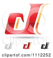 Clipart Abstract Letter D Icons With Shadows 1 Royalty Free Vector Illustration