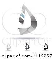 Clipart Abstract Letter D Icons With Shadows 8 Royalty Free Vector Illustration