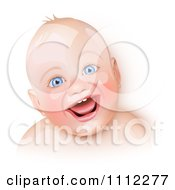 Clipart Happy Blue Eyed Caucasian Baby Laughing Royalty Free Vector Illustration by Oligo