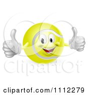 Clipart 3d Tennis Ball Mascot Holding Two Thumbs Up Royalty Free Vector Illustration by AtStockIllustration