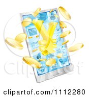 Clipart 3d Smart Phone With Gold Coins And A Yen Symbol Bursting From The Screen Royalty Free Vector Illustration by AtStockIllustration