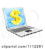 Clipart 3d Gold Dollar Symbol On A Laptop Screen Royalty Free Vector Illustration