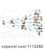 Clipart 3d People Avatars Spreading An Idea Royalty Free Vector Illustration by AtStockIllustration