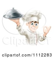 Clipart Happy Young Male Chef Holding A Platter And Gesturing Ok Royalty Free Vector Illustration