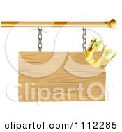 Clipart 3d Wooden Shingle Sign With A Crown Royalty Free Vector Illustration