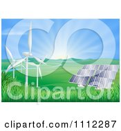 Clipart The Sun Shining Over A Valley With Solar Panels And Wind Energy Turbines Royalty Free Vector Illustration by AtStockIllustration