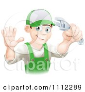 Clipart Happy Male Worker Holding A Thumb Up And A Wrench Royalty Free Vector Illustration