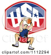 Clipart Basketball Player Dunking The Ball Over A USA Backboard Royalty Free Vector Illustration