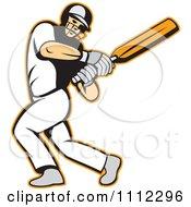 Batsman Swinging A Cricket Bat