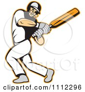 Clipart Batsman Swinging A Cricket Bat Royalty Free Vector Illustration by patrimonio