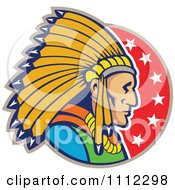 Clipart Retro Native American Indian Chief Man In Profile Over A Circle Of Stars Royalty Free Vector Illustration