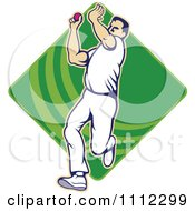 Clipart Cricket Player Bowling With A Ball Over A Green Diamond Royalty Free Vector Illustration by patrimonio