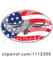 Clipart Armalite M 16 Colt AR 15 Assault Rifle Over An American Flag Oval Royalty Free Vector Illustration