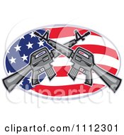 Clipart Armalite M 16 Colt Ar 15 Assault Rifles Crossed Over An American Flag Oval Royalty Free Vector Illustration