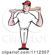 Clipart Baseball Player Standing And Holding A Bat Over His Shoulders Royalty Free Vector Illustration