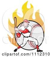 Clipart Baseball Player Athlete Batting Over A Flaming Ball Royalty Free Vector Illustration