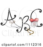 Clipart Feminine Alphabet Letters A B And C Royalty Free Vector Illustration