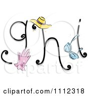 Clipart Feminine Alphabet Letters G H And I Royalty Free Vector Illustration