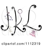 Clipart Feminine Alphabet Letters J K And L Royalty Free Vector Illustration