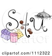 Clipart Feminine Alphabet Letters S T And U Royalty Free Vector Illustration by BNP Design Studio