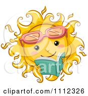 Clipart Happy Sun With Sunglasses Reading A Book Royalty Free Vector Illustration