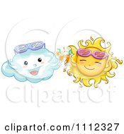 Clipart Happy Sun And Cloud With Sunglasses Toasting Royalty Free Vector Illustration