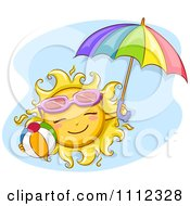 Clipart Happy Sun With Sunglasses A Beach Ball And Umbrella Over Blue Royalty Free Vector Illustration