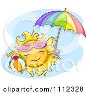 Happy Sun With Sunglasses A Beach Ball And Umbrella Over Blue