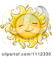 Clipart Happy Sun With A Shower Head Royalty Free Vector Illustration by BNP Design Studio